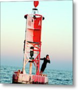 Business Woman On A Buoy Metal Print