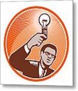 Businessman Holding Lightbulb Woodcut Metal Print by Aloysius Patrimonio