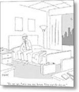 Businessman Sitting On A Bed In Hotel Room Metal Print