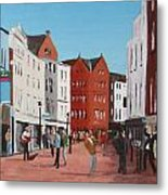 Busking On Grafton Street Metal Print