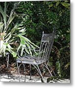 Bust In A Garden With Staghorn Fern Metal Print