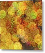 Busy Bee In The Marigolds Metal Print