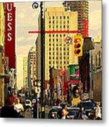 Busy Downtown Toronto Morning Cross Walk Traffic City Scape Paintings Canadian Art Carole Spandau Metal Print