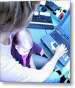 Busy Mother Working Metal Print