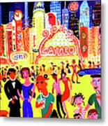 Busy Nightlife In New York City, United Metal Print