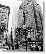 Busy Traffic Junction Of West 34th Street St And Broadway With Empire State Building Shrouded Mist Metal Print