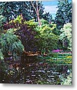 Butchart Gardens Is A Group Of Floral Display Brentwood Bay Metal Print