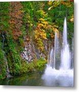 Butchart Waterfall And Fountain-- Metal Print