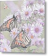 Butterflies And Bee Metal Print