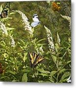 Butterflies In Golden Garden Metal Print