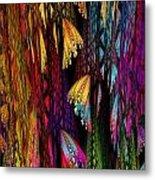 Butterflies On The Curtain Metal Print