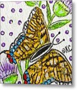 Butterfly And Thistles Metal Print