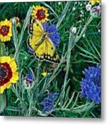 Butterfly And Wildflowers Spring Floral Garden Floral In Green And Yellow - Square Format Image Metal Print