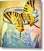 Butterfly Blue Glass Jar Metal Print