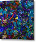 Butterfly Collage Blue Metal Print