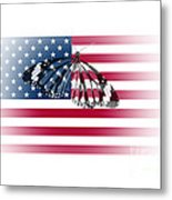 Butterfly Embedded With Usa National Flag Metal Print