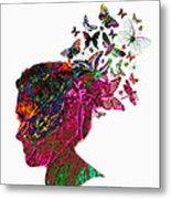 Butterfly Hair Metal Print