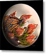 Butterfly In A Globe Metal Print