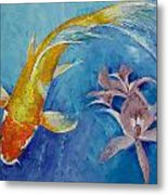 Butterfly Koi With Orchids Metal Print by Michael Creese