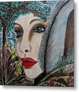 Butterfly Lady Metal Print