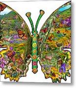 Butterfly Meadow Green Metal Print
