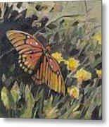 Butterfly Meadow With Yellow Flowers Metal Print