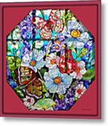 Butterfly Octagon Stained Glass Window Metal Print