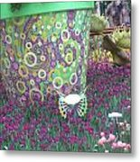 Butterfly Park Garden Painted Green Theme Metal Print