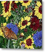 Butterfly Wildflowers Garden Oil Painting Floral Green Blue Orange-2 Metal Print