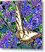 Butterfly With Purple Flowers 2 Metal Print