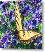 Butterfly With Purple Flowers 3 Metal Print