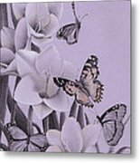 Butterflies In A Field Of Freesias Metal Print