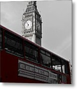 Bw Big Ben And Red London Bus Metal Print