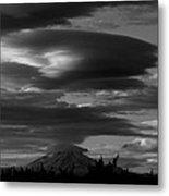 Bw Clouds Over Mt Adams Metal Print