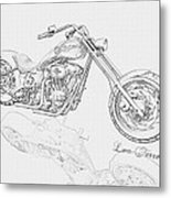 Bw Gator Motorcycle Metal Print by Louis Ferreira
