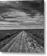 Bxw Gravel Vanishing Point Metal Print