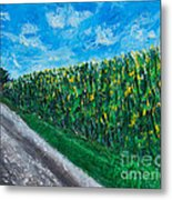 By An Indiana Cornfield The Road Home Metal Print