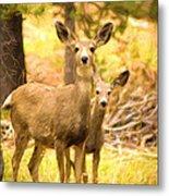 By Mama's Side - Photo Manipulation - Mule Deer - Casper Mountain - Casper Wyoming Metal Print