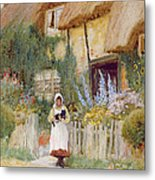 By The Cottage Gate  Metal Print