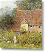 By The Cottage Gate Wc On Paper Metal Print