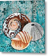 By The Seaside Original Coastal Painting Colorful Urchin And Seashell Art By Megan Duncanson Metal Print