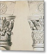 Byzantine Capitals From Columns In The Nave Of The Church Of St Demetrius In Thessalonica Metal Print
