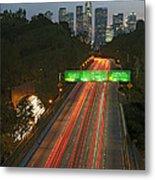 Ca 110 Pasadena Freeway Downtown Los Angeles At Night With Car Lights Streaking_2 Metal Print