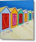Cabana Row - Colorful Beach Cabanas Metal Print
