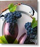 Cabernet Grapes And Wine Glasses Metal Print