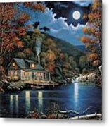 Cabin By The Lake Metal Print by John Zaccheo