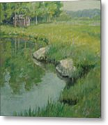 Cabin By The Pond Metal Print