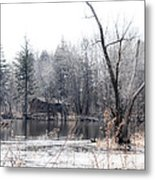 Cabin In The Woods Metal Print by Julie Palencia