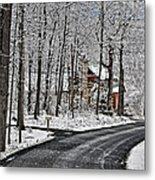 Cabin In The Woods Metal Print by Lara Ellis