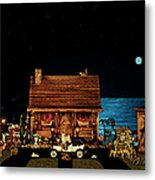 Log Cabin Near The Ocean At Midnight Metal Print by Leslie Crotty